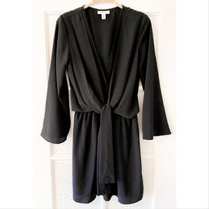 Topshop Double V Neck Tie Front Long Sleeve Dress